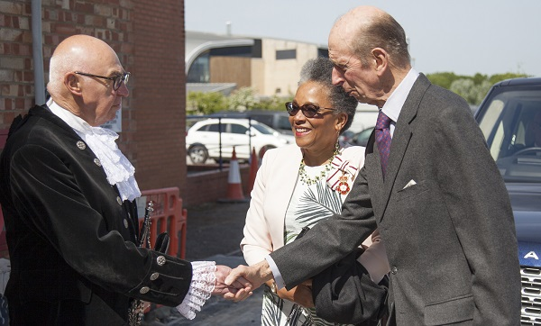 The High Sheriff of Bristol Roger Opie greets HRH The Duke of Kent and Lord Lieutenant of Bristol Peaches Golding OBE