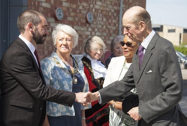 HRH is greeted by Deputy Mayor Cllr Craig Cheney and Mrs Patricia Wyatt, Lord Mayor's consort
