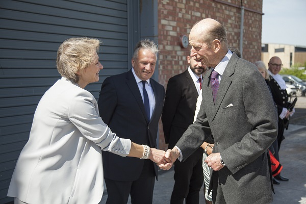 Fiona Francombe (Site Director, The Bottle Yard Studios) & Howard Swift (Service Manager, Economic Development, BCC) welcome HRH