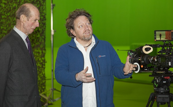 DOP Adam Lincoln demonstrates green screen to HRH on set of Andy's Safari Adventures (CBeebies)