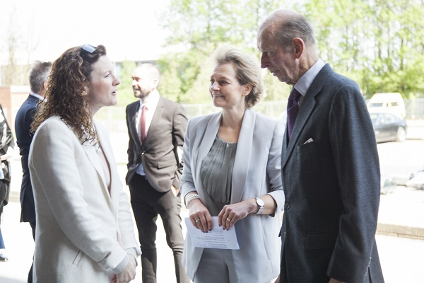 HRH is greeted by New Pictures' Charlie Hampton, Exec Producer of The Spanish Princess (STARZ)