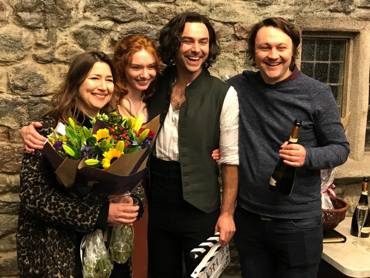 Producers Karen Thrussell and Michael Ray mark the wrap of Poldark with Aidan Turner and Eleanor Tomlinson at The Bottle Yard Studios