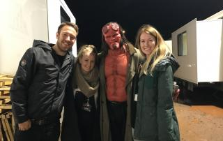Bristol production crew Joel Stokes, Jade Stevenson & Hannah Bone with David Harbour