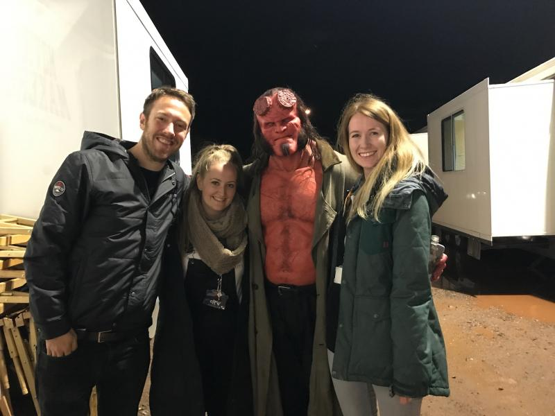 Bristol production crew Joel Stokes, Jade Stevenson & Hannah Bone with David Harbour
