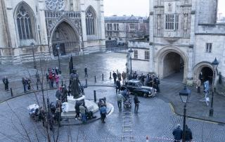 The Trial of Christine Keeler films outside Bristol's City Hall (credit Bristol Film Office)