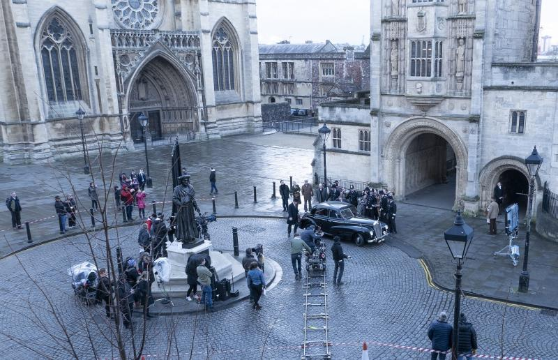 The Trial of Christine Keeler films outside Bristol's City Hall (credit Bristol Film Office)