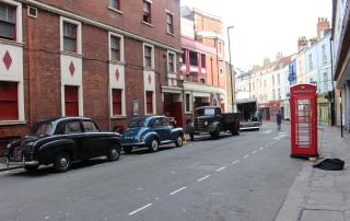 Denmark Street dressed for the filming of 2018 feature Stan & Ollie (credit Bristol Film Office)