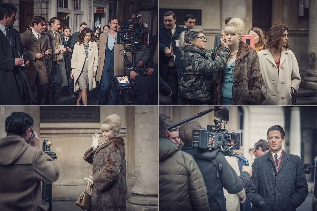 Sophie Cookson, Ellie Bamber and James Norton filming The Trial of Christine Keeler in Bristol 's Corn Street area earlier this year (© Ecosse Films / BBC, photo credit Ben Blackall)