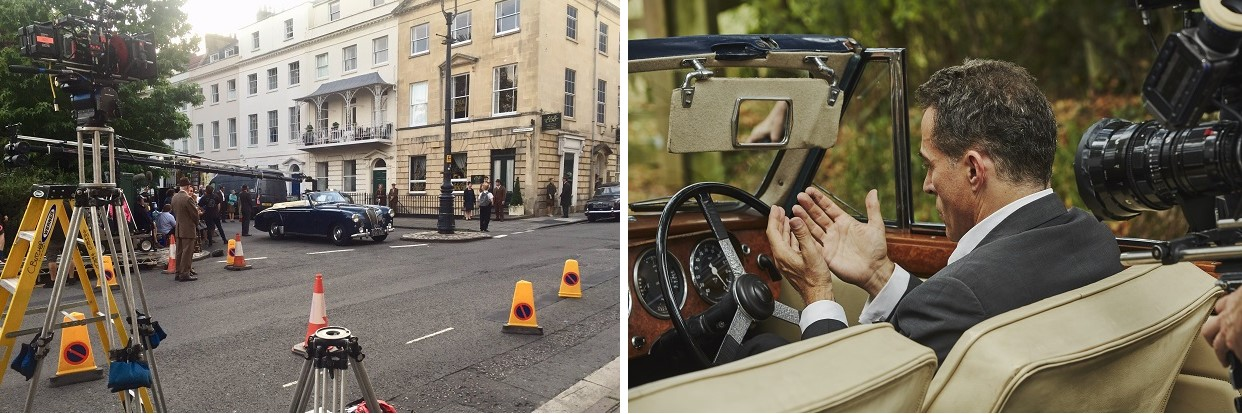 (Left) Filming in Clifton Bristol. Image courtesy Tony Stiles (Right) Rufus Sewell filming on location (image courtesy Mammoth Screen / Agatha Christie Ltd / BBC)