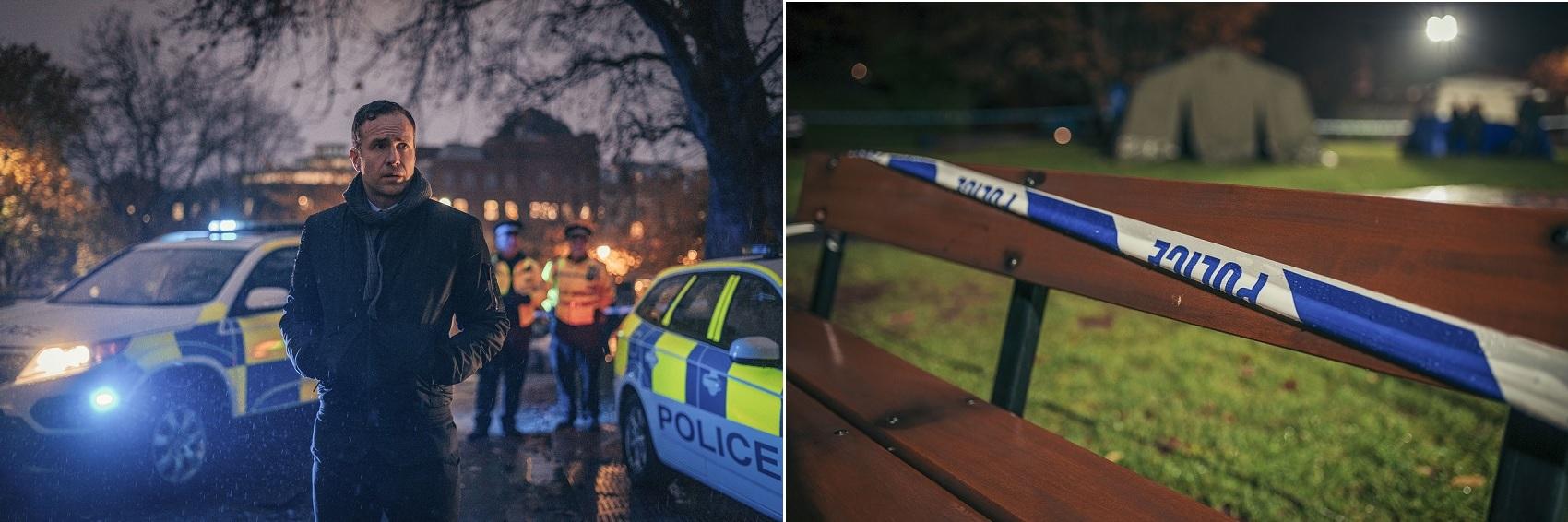 L-R Rafe Spall as Nick Bailey; police crime scene. Credit BBC / Dancing Ledge / James Pardon