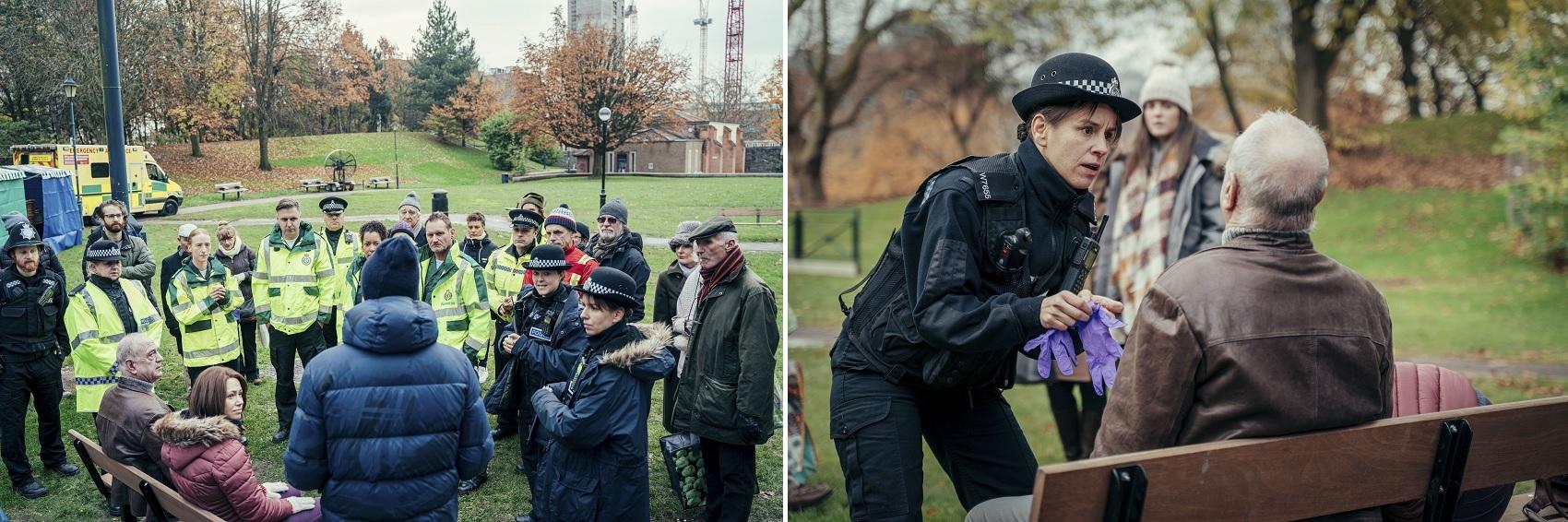 L-R Director Saul Dibb with cast in Bristol's Castle Park; Sgnt Tracy Holloway (Natalie Klamar) & Sergei Skripal (Wayne Swann). Credit BBC / Dancing Ledge / James Pardon