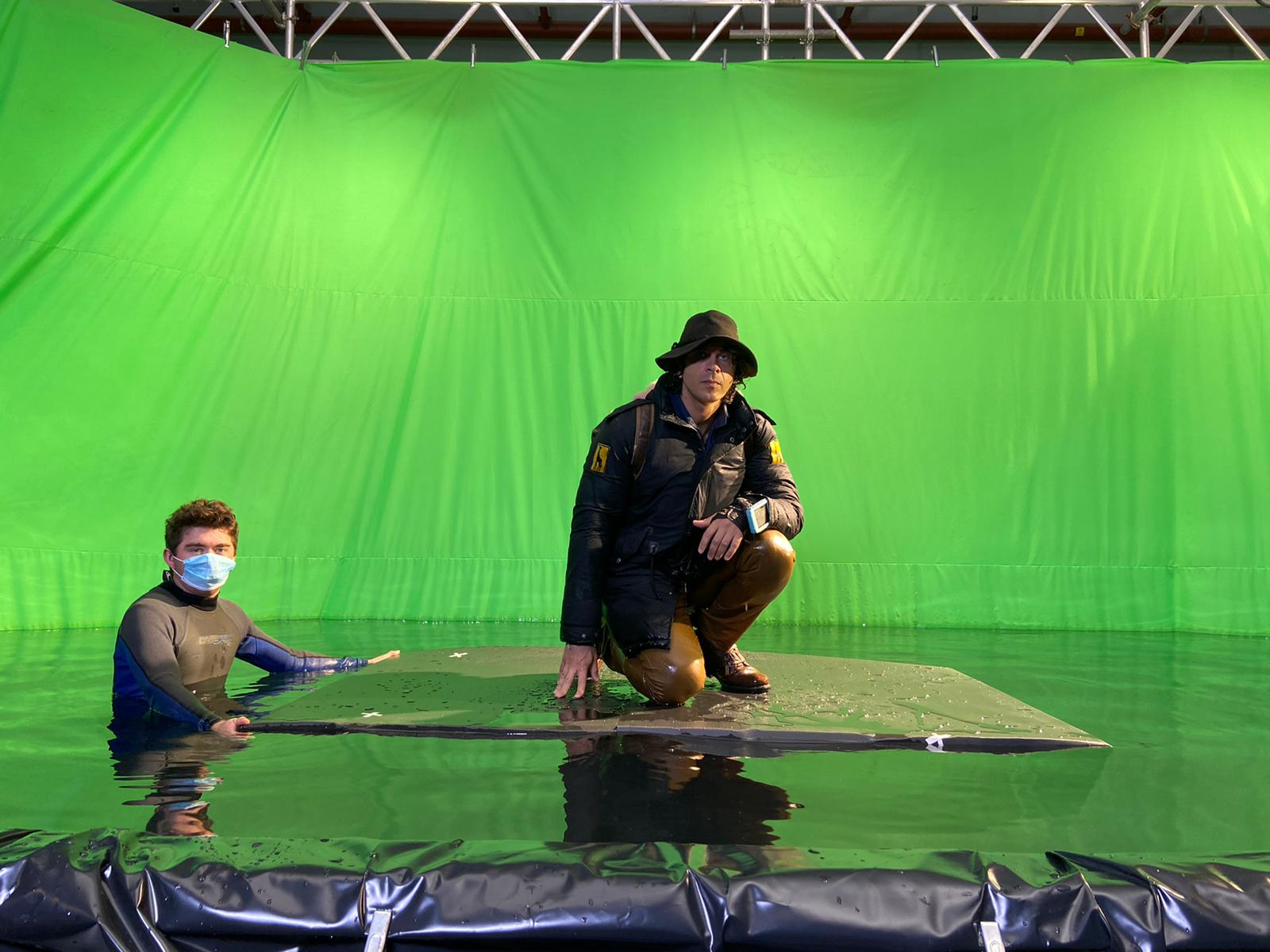 Andy Day filming Andy's Aquatic Adventures in green screen studio water tank at The Bottle Yard Studios (image BBC)