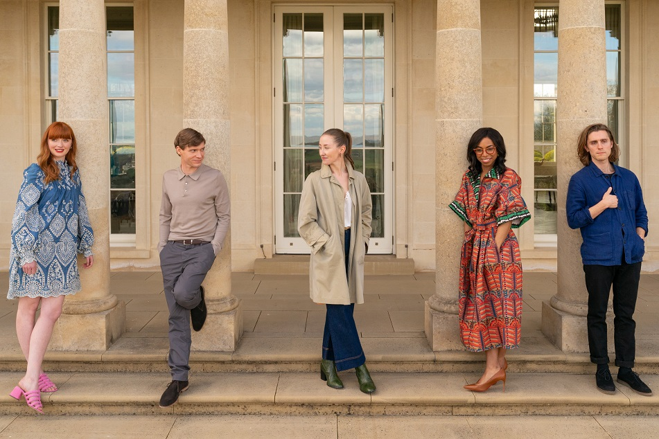 First look - Chloe cast (L-R) Poppy Gilbert, Billy Howle, Erin Doherty, Pippa Bennett-Warner, Jack Farthing (image courtesy BBC York Tillyer)