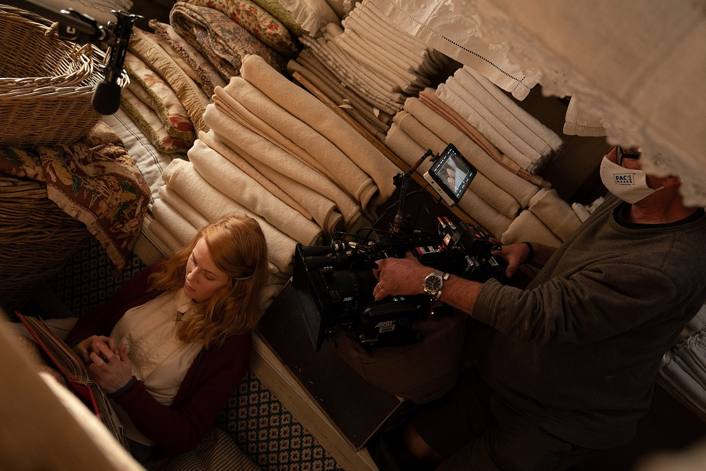Emily Beecham films The Pursuit of Love at The Bottle Yard Studios(courtesy Open Book/Moonage Productions/BBC)